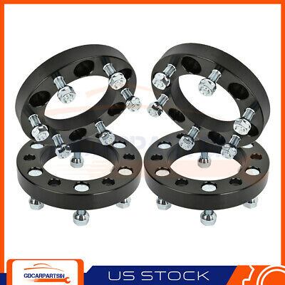 "(4) 1""  Wheel Spacers 6x5.5 12x1.5 Studs For Chevrolet For Toyota Tacoma Black"
