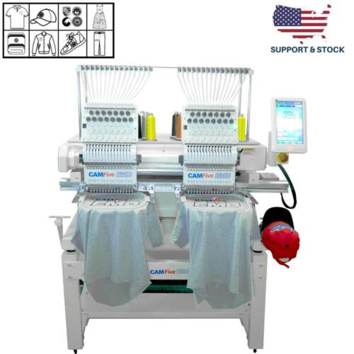 02 HEADS 15 COLORS CAMFIVE EMB HT1502 DOUBLE HEAD COMMERCIAL EMBROIDERY MACHINE