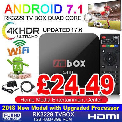 2018 SM 4K PRO Quad Core Android 7.1 TV Box Wifi HDMI Media Streaming Player