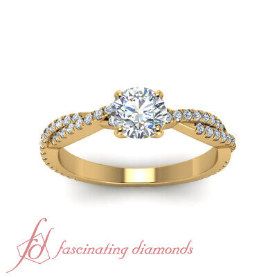 Yellow Gold Round Cut Diamond Intertwined Engagement Rings Pave Set GIA 1.15 Ct 1