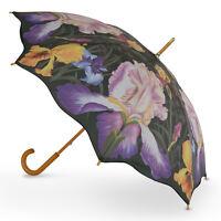 Cascada Collection Art Print Walking Umbrella With Wood Hook Handle Iris Floral - cascada - ebay.co.uk