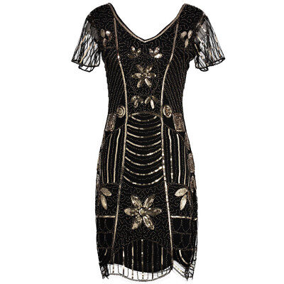 New 1920s vintage gatsby flapper charleston sequins black gold dress UK XS-XL