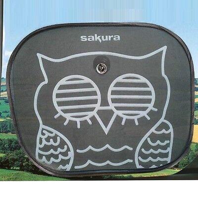 Car Window Sun Shield Shade Blind Owl UV Protection Baby Children Screen x 2