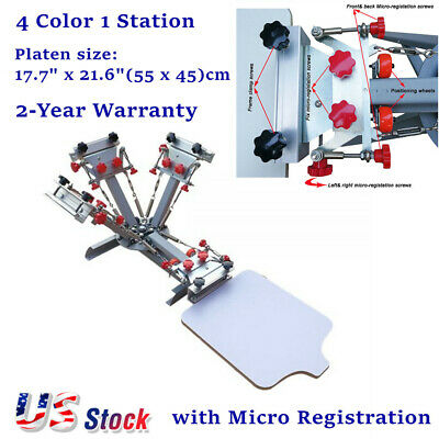 Usa Silk Screen Printing Press 4 Color 1 Station Machine With Micro Registration