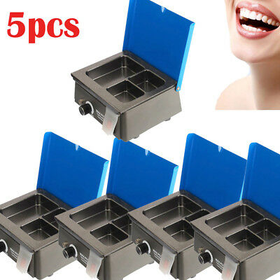5set Dental 3 Well Analog Wax Melting Dipping Pot Heater Melter Lab Equipment