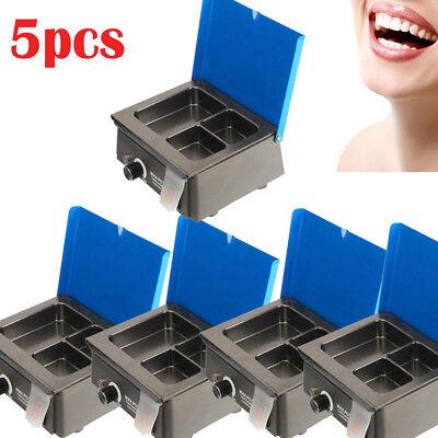 5set Dental 3 Well Analog Wax Melting Dipping Pot Heater Melter Lab Equipment