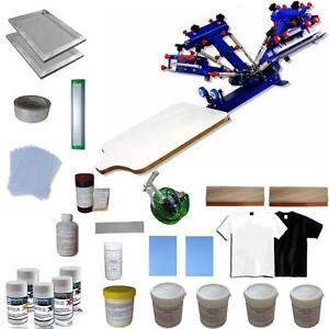 4 Color 1 Station Screen Printing Hobby Kit Press Printer & Consumables Package Hobby Hit 006939