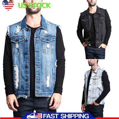 Men Causal Denim Vest Jean Coat Collar Shirt Biker Tops Jacket Waistcoat Outwear (Shirt Jeans Vest Jacket)