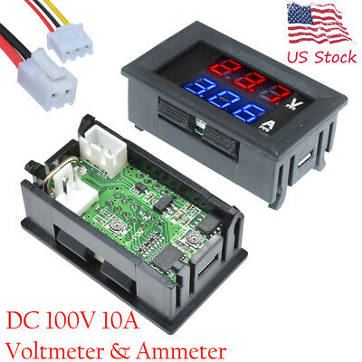 Mini Dc 100v 10a Digital Voltmeter Ammeter Blue Red Led Volt Amp Meter Gauge