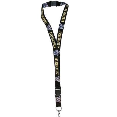 "Washington Huskies 21"" Lanyard Key Chain w/Safety Release (Black) NCAA Licensed"