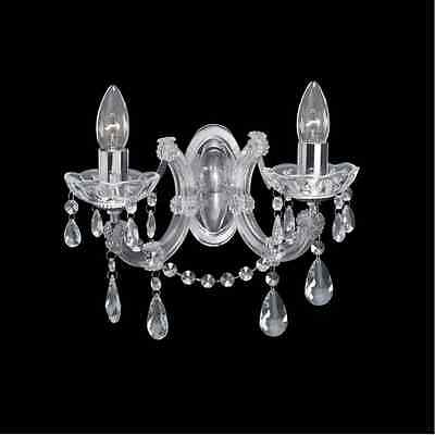 THLC Marie Therese 2 Light Chrome Crystal Double Wall Light - Charlotte-2CH