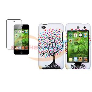 White Love Tree Hard Rubber Skin Case+Screen Cover For iPod Touch 4 4th 4G Gen