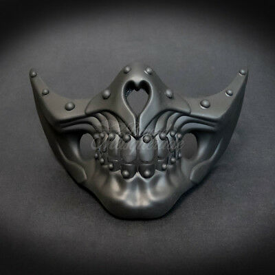 Masquerade Mask New Steampunk Matte Black Jaw Bone Face Halloween Costume Party - Jaw Mask