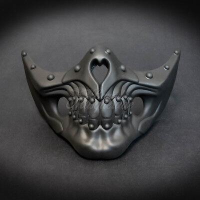 Masquerade Mask New Steampunk Matte Black Jaw Bone Face Halloween Costume Party - Halloween Bones Font