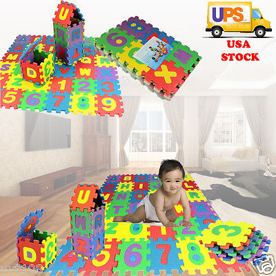 36PCS Child Soft Foam Play Mat Alphabet Number Animal GYM Puzzle DIY Toy Floor