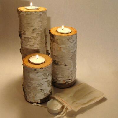 REAL BIRCH BARK LOG TEA-LIGHT CANDLE HOLDER SET OF THREE. LOG CABIN RUSTIC DECOR (Tealight Log)