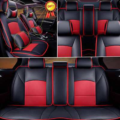 Car Seat Cover PU Leather 5-Seats Front & Rear Cushion For Ford F-150 2010-2016