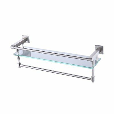KES A2225-2 SUS304 Stainless Steel Bathroom Glass Shelf Wall Mount with Towel