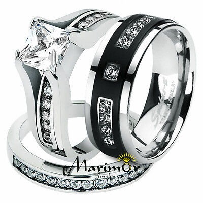 Hers and His Stainless Steel Princess Wedding Ring Set & Titanium Wedding Band