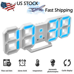 3D LED Digital Alarm Clock Night Wall Table Display Modern USB Timer Thermometer