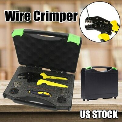 Wire Terminal Crimper Crimping Tool Pliers Set Kit Screwdriver Spare Dies Wbox