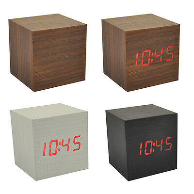 Wood Cube LED Alarm Control Digital Desk Clock Wooden Style Room Temperature