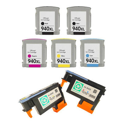 - 2PK Printhead and 5PK Ink Cartridge for HP940 Fit Officejet Pro 8000 8500A Plus