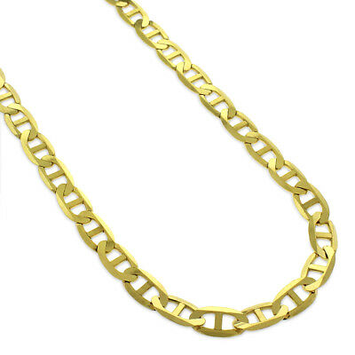 14k Yellow Gold 5mm Solid Mariner Anchor Link Flat Necklace Chain 16