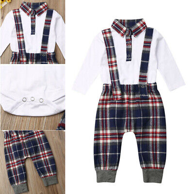 2pcs Newborn Kids Baby Boy Gentleman Clothes Romper Shirt+Bib Pants Outfit Set