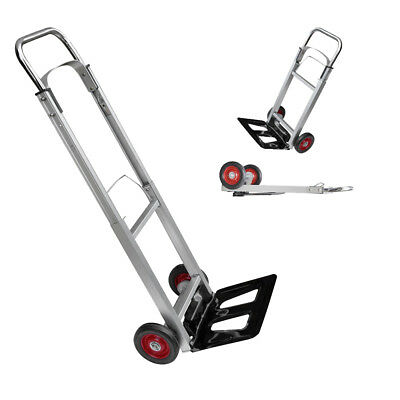 Folding Hand Truck Lightweight Aluminium Alloy Heavy Duty Sack Cart 90kg DCUK