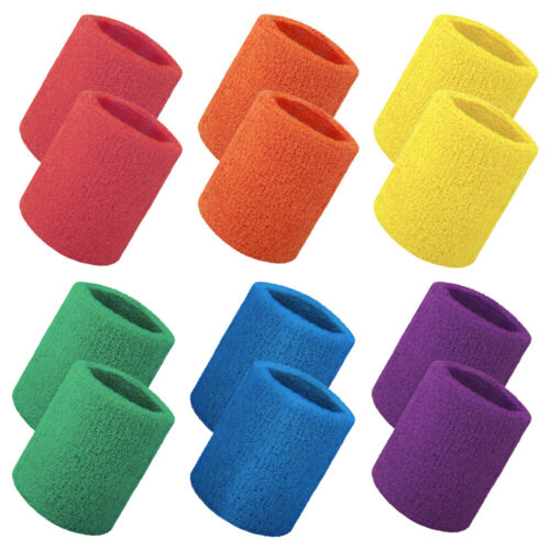 12 Pcs Wrist Sweatbands, Cotton Terry Cloth Wristbands, Athletic Band for Sports