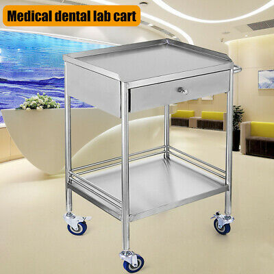 Stainless Steel 2 Layer Laboratory Vehicle Carts W Single Drawer Lockable