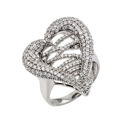 925 Sterling Silver ladies heart Micro Pave Ring W/ diamonds//NEW DESIGN! SZ 5-9 Diamond Micro Pave Ring