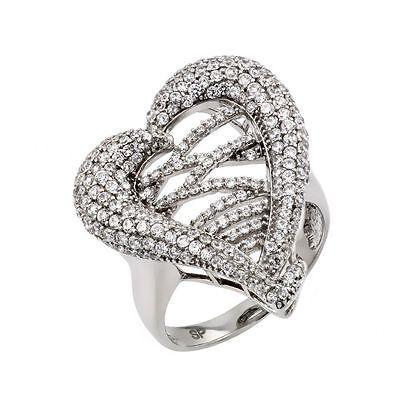 Diamond Micro Pave Ring (925 Sterling Silver ladies heart Micro Pave Ring W/ diamonds//NEW DESIGN! SZ 5-9 )