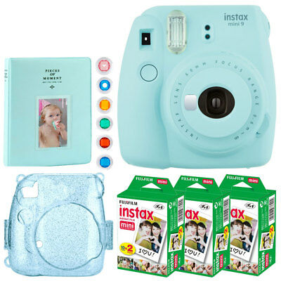 Fujifilm instax mini 9 Point Film Camera (Ice Blue) + Instax 60 + Album + Casket