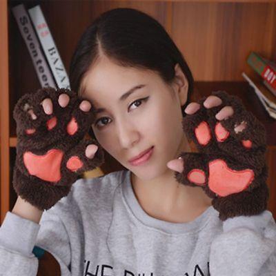 Fluffy Bear Paw Cat Claw Plush Half Finger Winter Warm Gloves Mitten For