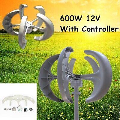 600w 12v Lanterns 5 Blades Wind Turbine Generator Vertical Axis Controller New