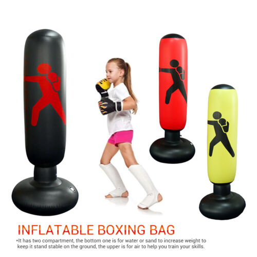 1.5M Inflatable Boxing Punching Bag Gloves Kick Training Tumbler for Kids Adults