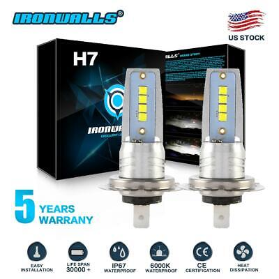 H7 LED Headlight Bulbs Conversion Kit Hi/Lo Beam 55W 8000LM 6000K High Bright
