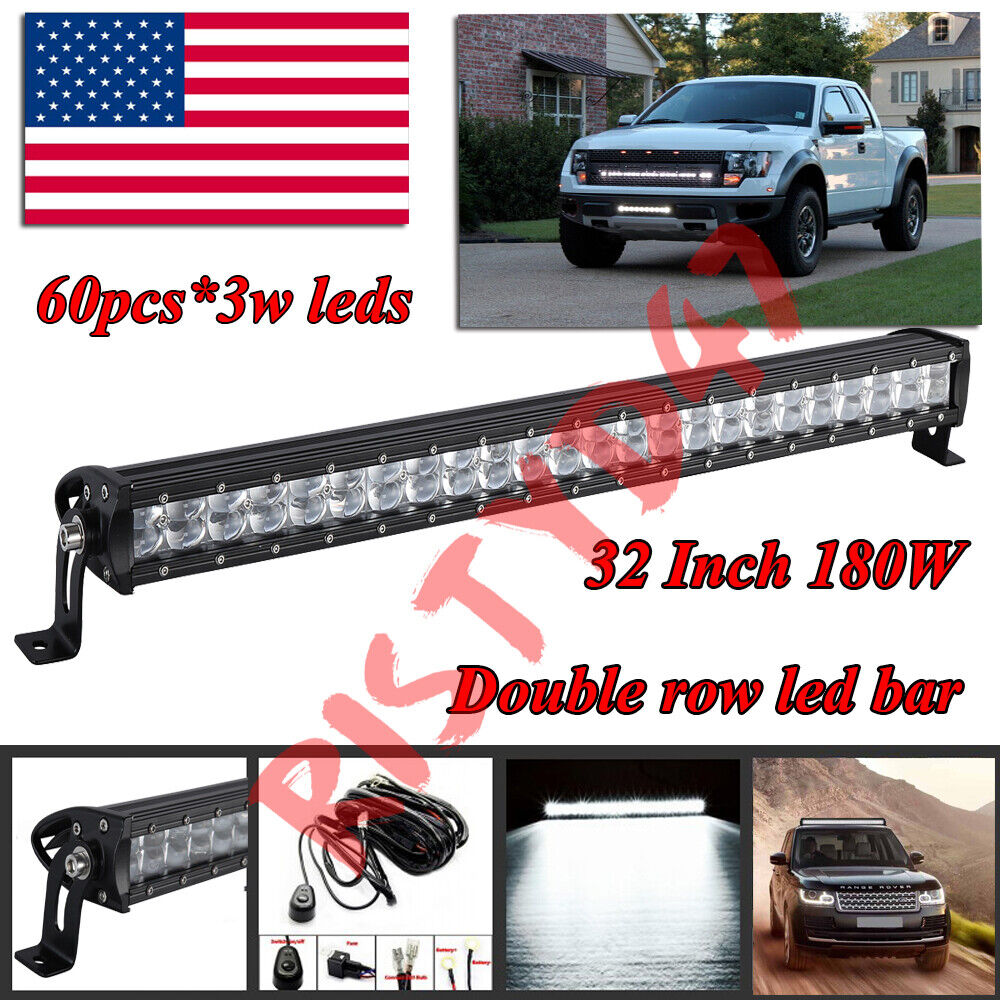 32Inch LED Light Bar 180W Double Row Spot Offroad Boat Car 4WD Truck SUV 30/34  - $103.51