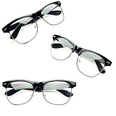 CLUBMASTER Half Frame CLEAR LENS GLASSES Black Silver Color Vintage Style Retro