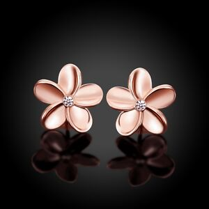 NEW ARRIVAL LOVELY ROSE GOLD PLATED FLOWER SHAPED CRYSTAL EARRING - UK SELLER