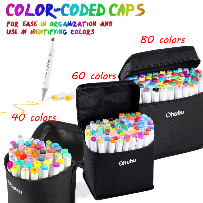 40/60/80 PCS Permanent Paint Twin Marker Pen Dual Tips Art Sketch W Carry Bag