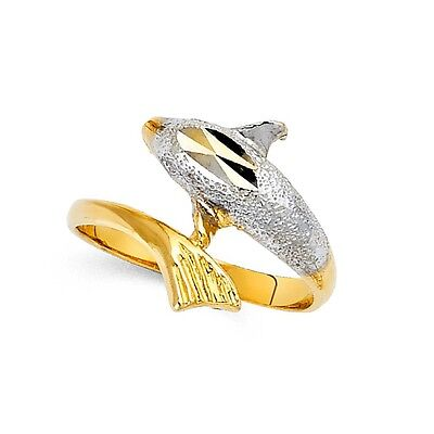 (Dolphin Fancy Ring Solid 14k Yellow & White Gold Curve Band Sand Polished Fancy)