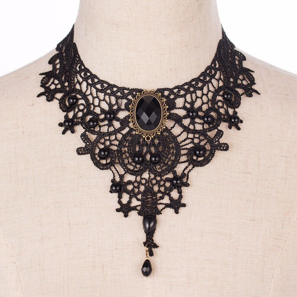 Gothic Choker Vintage Detailed Classic Black Lace Beaded Collar Necklace UK