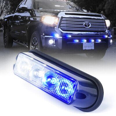 Super Bright 4 LED Side Marker Grille Strobe Lights 4 W Flash Warning White-Blue 2 Mini Bar Warning Light