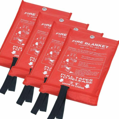 Emergency Fire Blankets , Flame Retardant Protection and Heat White(4PACK)
