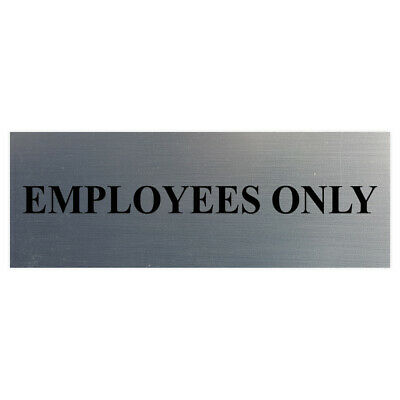 Basic Employees Only Door Wall Sign - Silver - Large