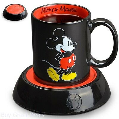 Mickey Mouse Electric Coffee Mug Warmer 10Oz Ceramic Cup Black Red Disney Mug