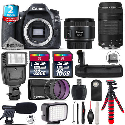 Canon EOS 80D DSLR + 50mm f/1.8 IS STM + 75-300mm III + LED Kit + Flash + 48GB